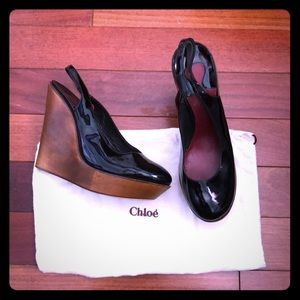 CHLOE Black Patent Leather Wooden Wedges sz 40